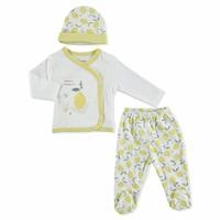Summer Baby Girl Lemon Bodysuit Hat Pant 3 pcs Set