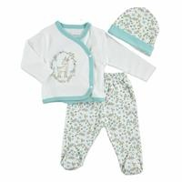 Summer Baby Girl Floral Bodysuit Hat Pant 3 pcs Set