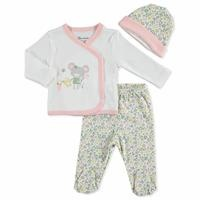 Summer Baby Gardener Mouse Bodysuit Hat Pant 3 pcs Set