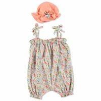 Tropik Yaz Kız Bebek İp Askılı Tulum Şapka