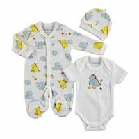Erkek Bebek Dinazor İnterlok Uzun Kol Patikli Bebe Yaka 3'lü Tulum-Body-Şapka