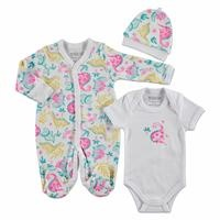 Baby Girl Dino Interlock Romper Bodysuit Hat 3 pcs Set