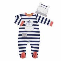 Bebek Zebra Patikli Tulum Şapka 2li Takım