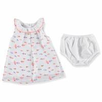 Kız Bebek Balık Tema Şifon Kolsuz Elbise