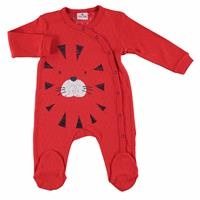 Summer Little Lion Baby Boy Snaps Long Sleeve Footed Romper - Red