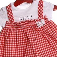 Happy Chickens Baby Girl Plaid Short Romper