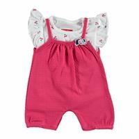 Yaz Kız Bebek Tatlı Kiraz Şort Salopet-Tshirt Takım