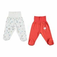 Baby Girl Wide Foldable Casual Waist Footed Pants 2 Pack