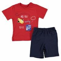 Erkek Bebek Mobil Kanatlı Uçak 2li Tshirt-Şort Takım
