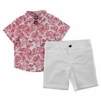 Palm Cotton Short Sleeve Shirt - Pants 2 pcs Set
