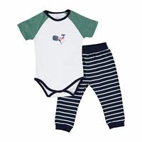 Whale Baby Boy Short Sleeve Footless Trouser