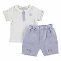 Yaz Erkek Bebek Çapalı Pamuklu Kısa Kol Patiksiz 2li Tshirt-Şort