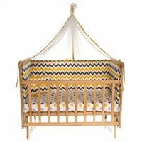 Elyaza Natural Mother Side Elevator Cradle 60x120 cm Yellow Gray + Bedding Set