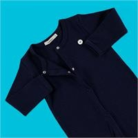 Baby Organic Navy Blue Reported Rib Footless Romper