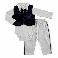 Baby Boy Special Day Bowtie Texture Bodysuit Pants Hat 3 pcs Set