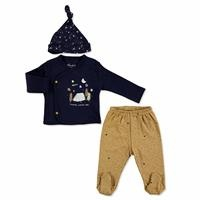 Sky Baby Boy Bodysuit Hat Footed Pants Set 3 pcs