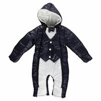 Winter Bowtie And Vest Baby Boy Welsoft Lined Astronaut Snowsuit Romper