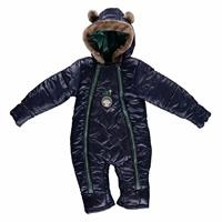 Winter Hooded Eared Baby Boy Welsoft Lined Astronaut Snowsuit Romper