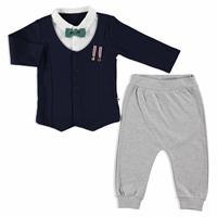 Bebek Armalı İnterlok Papyonlu Hırka Detaylı Sweatshirt Alt 2 Li Takım