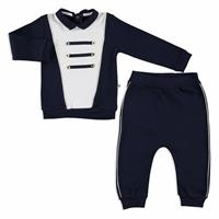 Crested Interlock Baby Polo Neck Sweatshirt Trousers Set
