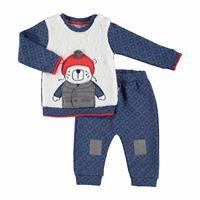 Bebek Kaykaylı Ayı Oyuncaklı Sweatshirt Tek Alt Takım