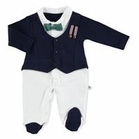 Baby Armalı Bow Tie Cardigan and Footed Overalls