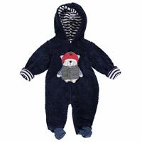 Skateboarder Bear Baby Wellsoft Lined Hoodie Footed Romper