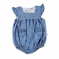 Lacy Detailed Baby Denim Short Romper