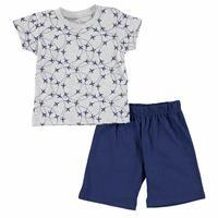 Hızlı Uçak Metraj Baskılı Kısa Kol Erkek Bebek Pijama Takımı