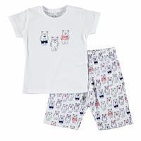 Ayıcık Baskılı Kısa Kol Erkek Bebek Pijama Takımı