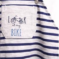 Baby Boy Bike Theme Striped Dungarees Tshirt Set