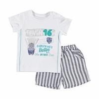 Centilmen Ayı Erkek Bebek Tshirt Şort 2li Takım