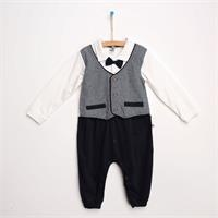 Mini Interlock Long Sleeve Elastic Polo Neck Single Jumpsuit