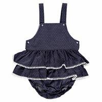 Yaz Kız Bebek Puan Baskılı Dantel Detaylı Düğmeli Poplin Kısa Kol Lastikli Elbise Body