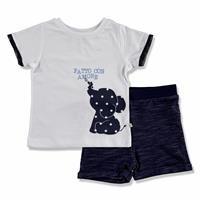 Summer Baby Boy Elephant Printed Crew-Neck T-shirt Short 2 pcs Set