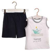 Summer Baby Sea Cotton Sleeveless Footless Crew Neck Top Short Set