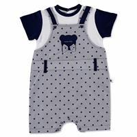Summer Baby Boy Cute Bear Poplin Short Sleeve Snaps Neck Dungarees
