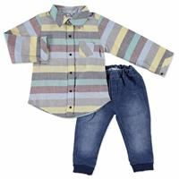 Baby Button Detail Shirt Bodysuit Denim Pants Set 2 pcs