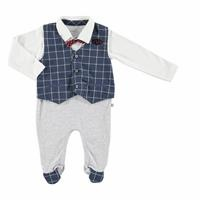 Baby Pocket Detail Bowtie Vest Footed Romper