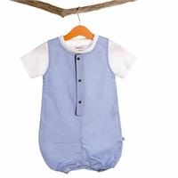 Baby Button Detailed Collar Texture Jumpsuit Tshirt Set