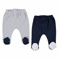 Striped Baby Boy Footed Trousers 2 Pack
