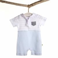 Baby Boy Sailor Duck Scarf Detailed Short Romper