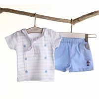 Erkek Bebek Denizci Ördek Tshirt Şort Takım, İnterlok