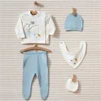 Fish And Bear Interlock Baby Collar with Long Sleeve Booties Newborn Hospital Pack 5 Pieces