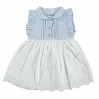 Yaz Kız Bebek Bebe Yaka Vual Kısa Kol Bebe Yaka Elbise