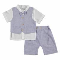 Summer Baby Boy Poplin Shirt Short Vest 3 pcs Set