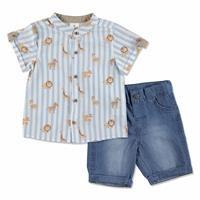 Yaz Erkek Bebek Poplin Kısa Kol hakim Yaka Gömlek-Şort