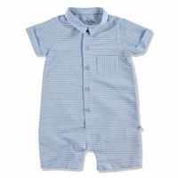 Summer Baby Boy Blue Striped Poplin Short Sleeve Jumpsuit