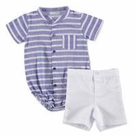 Yaz Erkek Bebek Mavi Çıtçıtlı Poplin Hakim Yaka 2li Gömlek Body-Şort Takım