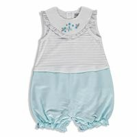Summer Baby Beautiful Flower Cotton Petter Pan Collar Single Jumpsuit